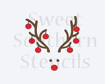 Deer Head with Ornaments 2 Piece Cookie Stencil