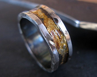Mens Wedding Band Man Wedding Ring Rustic Man Wedding Band Gold Silver Wedding Band Landscape Unique Wedding Band Landscape Ring Oxidized