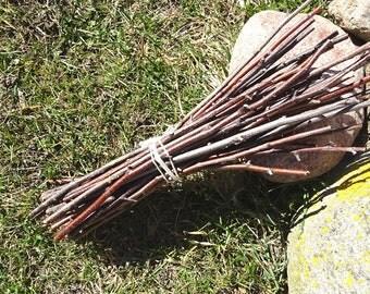 Birch branches bundle. Birch sticks. Wooden branches. Craft sticks. Ritual branches.