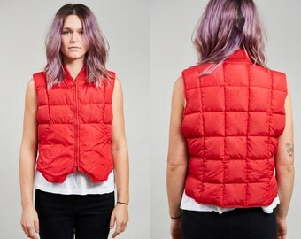 1980s REI Cherry Red Quilted Down Vest • XS