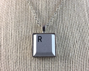 Personalized Silver Plated Computer Key Pendant - With Your Choice of Computer Laptop Key