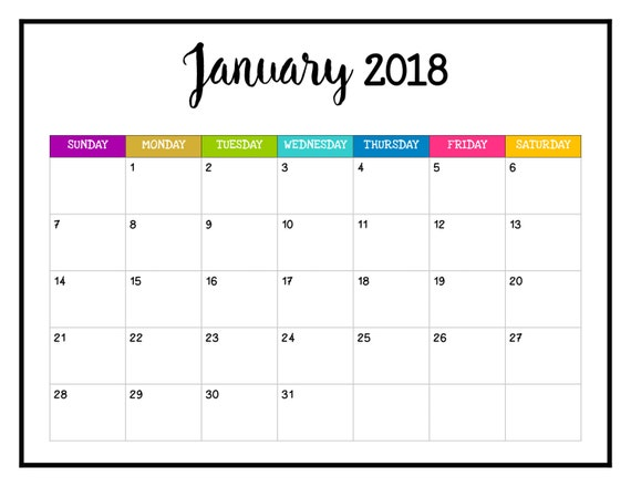 printable monthly calendar 2018