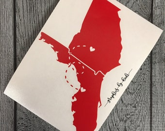 Long Distance Relationship Decal - Pick Your Own States
