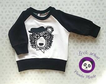 Raglan bear sweater, raglan sweater, baby sweater, toddler sweater, boys sweater,  monochrome sweater, French terry sweater, fall sweater