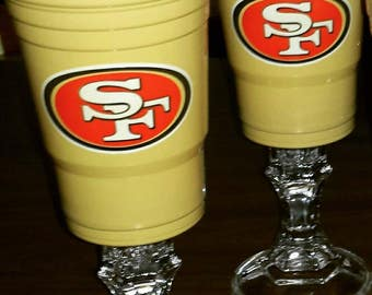 49er Solo Cups (Set of 2) -San Francisco-49ers-Drinkware-Mancave-Tailgate-Party Cup-Red and Gold-49er Fan-Football-Forty Niners-Barware