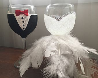 Bride and Groom Feathered
