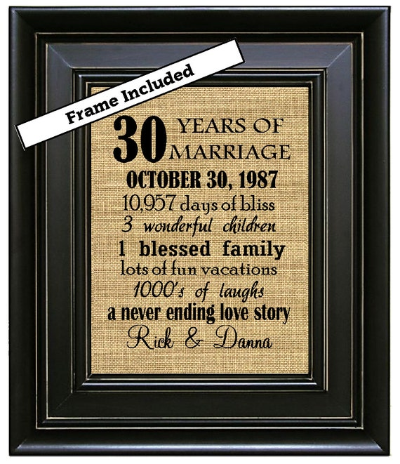 What Is The 30th Wedding Anniversary Gift: FRAMED 30th Wedding Anniversary Gift 30th By BurlapNGlass