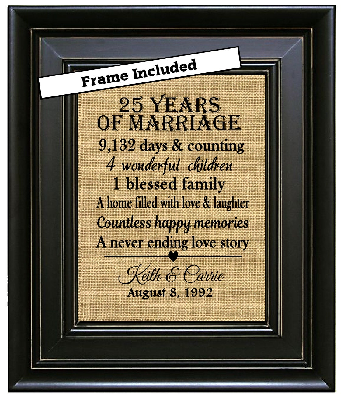 Gifts For Him For 25th Wedding Anniversary: FRAMED Personalized 25th Anniversary Gifts/25th Wedding