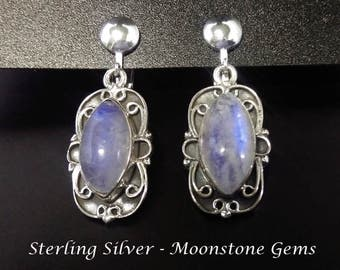 Clip On Earrings:  Fabulous Rainbow Moonstone Gems on Sterling Silver Clip On Earrings | Gifts for Women, Gifts for Mother, Gift Idea 203