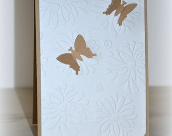 Birthday card, card thank you, with butterfly blank kraft card