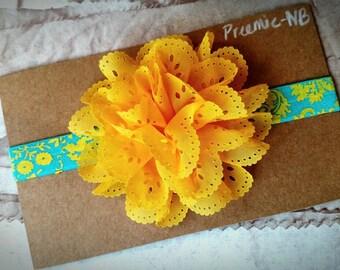 Yellow flower Headband,  Headband,newborn Headband,Baby Headband, aqua Headband, eyelet lace Headband, Flower Headband, floral Headband