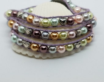 Hemp bracelet triple wrap 6mm pearl glass beads multicolor