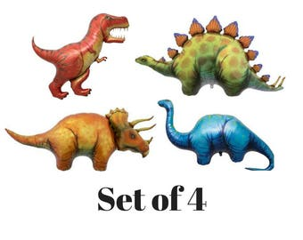 Set of 4 Dinosaur Balloons | Dinosaur Birthday Party | Dinosaur Balloon | Dino Party | Jurassic World Birthday | Jurassic World Decorations