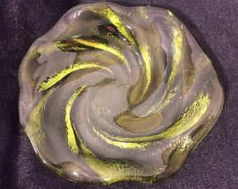 1960's Fenton Green Glass Swirl Ashtray