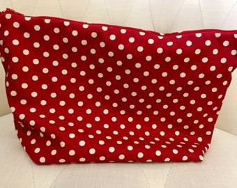 Red Spotted Zipped Pouch