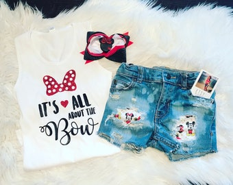 Minnie and Mickey distressed shorts