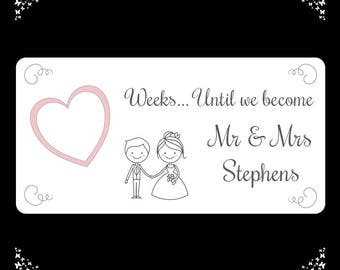 Personalised Wedding Countdown Plaque - Mr & Mrs - Engagement Gift - FREE POSTAGE