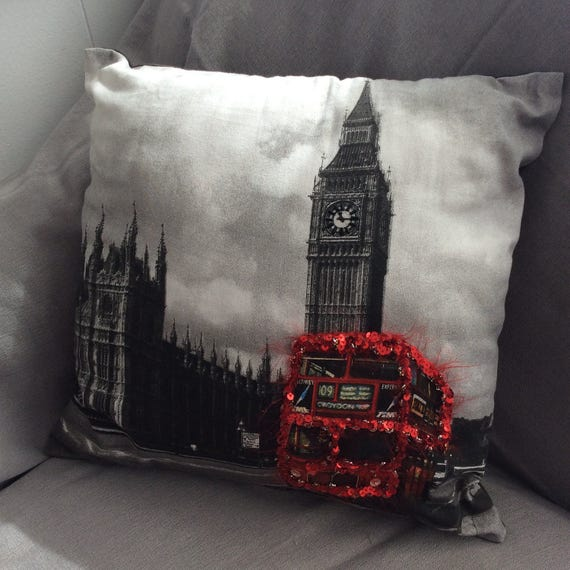 Hand Embellished London Double Decker Bus Pillow