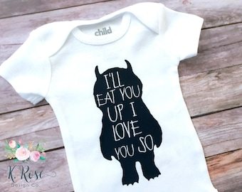 Where The Wild Things Are Bodysuit, I'll Eat You Up I Love You So, Baby Boy Bodysuit, Baby Boy Gift, Baby Gift, Baby Shower Gift