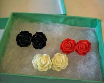 Red Black and White Rose Earrings