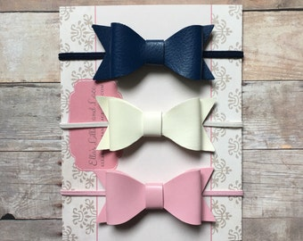 Leather Bow Headbands, Leather Baby Headband, Newborn Baby Headbands, Ivory Navy Pink Bow headbands, Baby Shower Gift, Leather hair bows