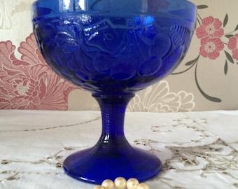 Vintage Cobalt Blue Glass Pedestal Dish, Made in France.  Candy, Bon Bon Dish.