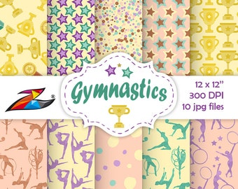 Sale Rhythmic gymnastic digital papers commercial use Ball Hoop Ribbon scrapbook paper star pattern gymnastic girls Tumbling