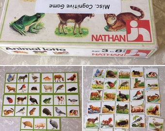 Animal Lotto Cards and Pieces - Vintage Classroom Cognitive Game