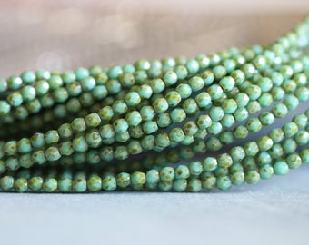 3mm (50) Green Turquoise Picasso, Czech Glass Beads, Fire Polished, Faceted, Seed Beads, 50 pieces, Stone Creek