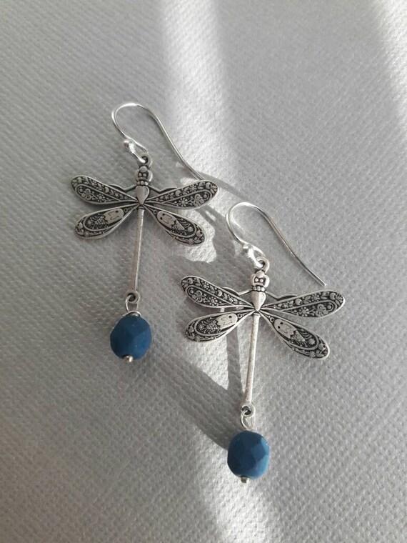 Dragonfly earrings, Dangle Earrings, Dragonfly Jewelry, Blue Glass Earrings, gift for her