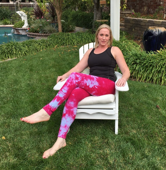 Tall Cosmic Pink Popsicle Tie Dye Leggings Including Extra Long and Plus Sizes by Splash Dye Activewear