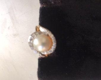 LAST WEEK SALE:  Estate Pearl Diamond 14k Ring