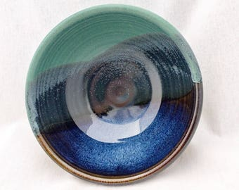 Pottery bowl with a mountain landscape pattern- glazed in green, blue, and black (18 oz)- small serving bowl, soup bowl, cereal bowl