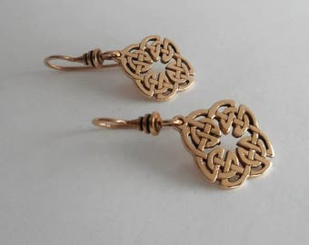 Bronze Celtic Knot Earrings, Quaternary Knot, Icovellavna, Made in Montana Gift for Women, Irish Jewelry, Celtic Earrings 8th Anniversary