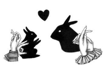 Rabbits Hand Shadow Puppet A5 Print