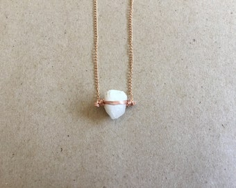 Arkansas Quartz Rose Gold Necklace