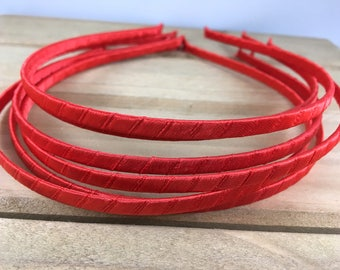 Red Satin Wrapped Metal Headband, red 5mm headband, red headband, red 5mm metal headband, DIY Hard Headband