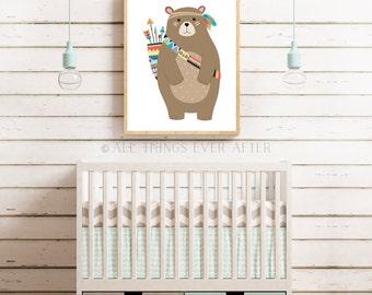 Boy nursery decor | tribal bear print | woodland decoration | playroom | wall art | cute |  baby | boy | kids room decor 007
