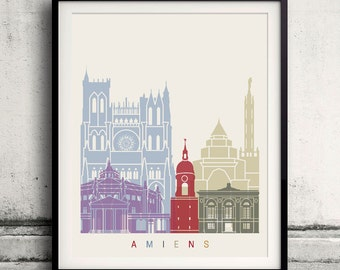 Amiens skyline poster - Fine Art Print Landmarks skyline Poster Gift Illustration Artistic Colorful Landmarks - SKU 2309