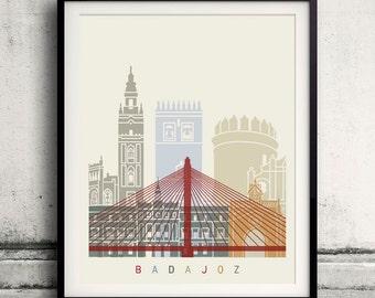 Badajoz skyline poster - Fine Art Print Landmarks skyline Poster Gift Illustration Artistic Colorful Landmarks - SKU 2315