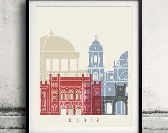 Cadiz skyline poster - Fine Art Print Landmarks skyline Poster Gift Illustration Artistic Colorful Landmarks - SKU 2320