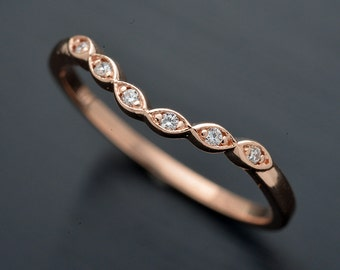 14KT curved White, Pink or Yellow gold wedding band with diamonds