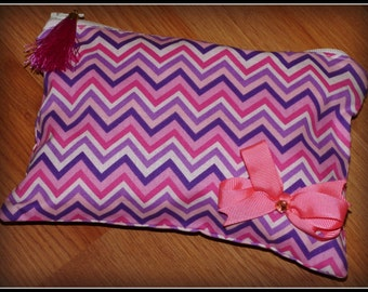 Pastel Chevron Zipper Pouch, Zipper Pouch, Small Zipper Pouch
