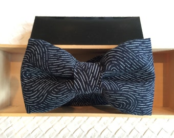 Mens Japanese Navy Wood Block Print Bow tie with Optional Matching Pocket Square and Lapel Pin