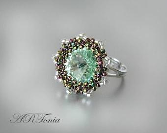 Swarovski beaded ring Chrysolite, handmade jewelry, gift for her, beadwork, beaded jewellery, green beadwoven ring, Swarovski jewellery