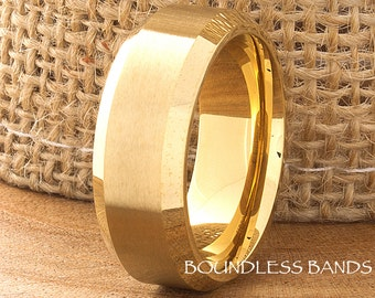 Cobalt Ring Yellow Gold Wedding Band 8mm Beveled Brushed Ring Mans Womens Anniversary Promise Engagement Comfort Fit His Hers Custom Made