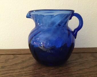 Vintage COBALT BLUE Swirl Creamer/ Pitcher    Hand blown