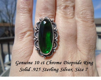 10 ct Chrome Diopside Ring Size 7
