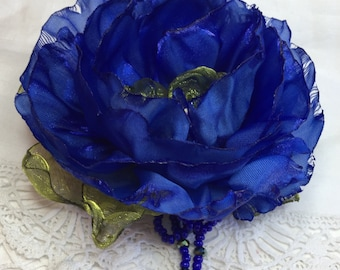 Special blue flower pin, bright blue fabric flower brooch, lime green, statement, beautiful gift for her, wedding, special occasion, beads
