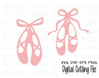 Ballet Shoes SVG Cut File Design, Ballerina Dance Shoe set for Silhouette, Cricut & more, Ballet Dance Cutting files, Svg Dxf Eps Png